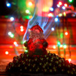 Santa claus new year and christmas card — Stock Photo