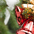 Christmas bell hanging on pine - tree branch with snow — Stock Photo