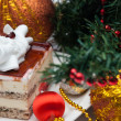 Christmas Cake under the christmas decoration — Stock Photo