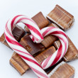 Christmass background, candies and sweets — Stock Photo