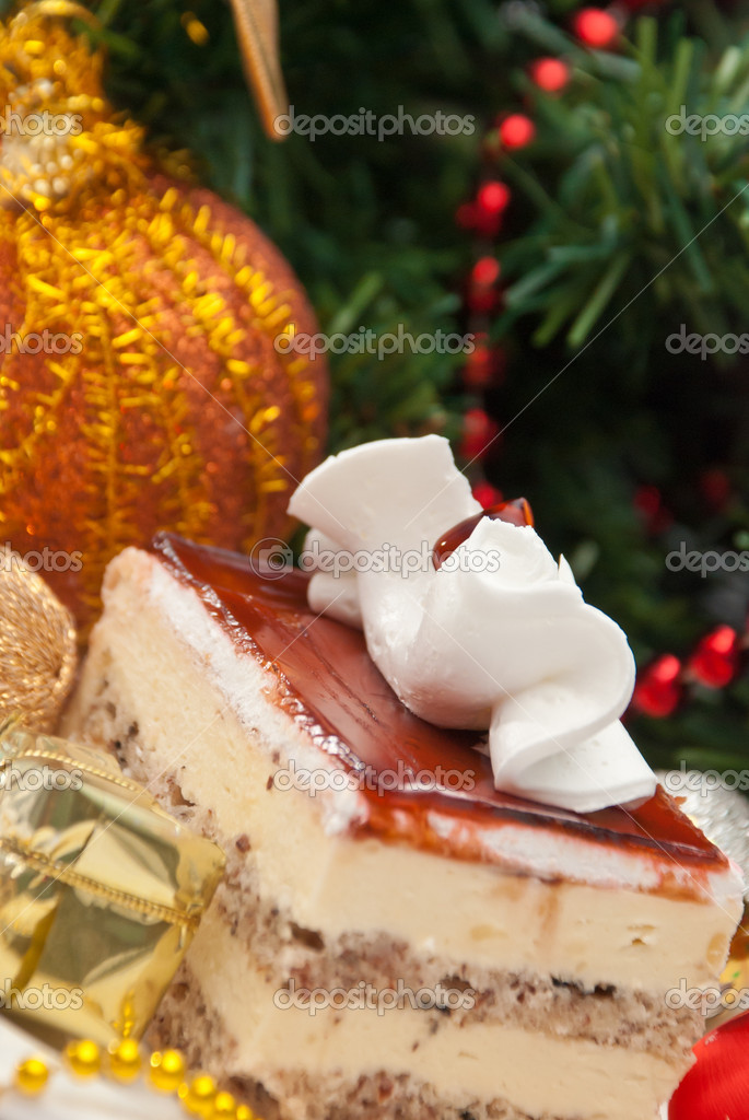 Christmas Cake under the christmas decoration — Stock Photo #16969219
