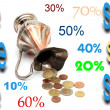 Stock Photo: Sale and discount rates on treasure back