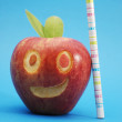 Health and scool concept with smilling apple — Stock Photo
