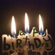 Three birthday candles — Stock Photo