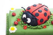 Ladybug birthday cake — Stock Photo