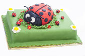 Ladybug birthday cake — Stock Photo