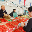 Selling strawberries in market, malmo,sweden — Stock Photo