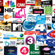 World tv stations collage — Stock Photo