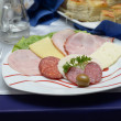 Appetizer, cut salami and cheese on a plate — Stock Photo #25587459