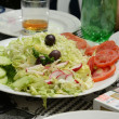 Stock Photo: Vegetable salad and rakia