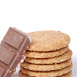 Puffed rice with chocolate on cookies — Stockfoto