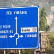 Stock Photo: Road sign in albania
