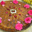 Turkish baklava with roses — Stock Photo