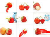 Fresh strawberry collage — Stock Photo