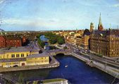 Vintage post card from Malmo, Sweden — Stock Photo