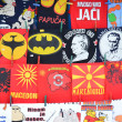 Various t shirts designs in shop in macedonia — Stock Photo
