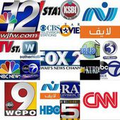 World tv stations , collage — Stock Photo