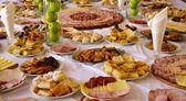 Meat platters, gourmet food — Stock Photo