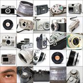 Collage of vintage cameras — Stock Photo