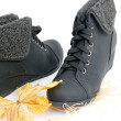 Winter shoes,female boots — Stock Photo