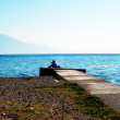 Lake ohrid, view from city of struga — Stock Photo
