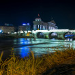 Stone bridge by night Skopje — Stock Photo