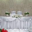 Bride and groom wedding table — Stock Photo