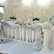 Stock Photo: Bride and groom wedding table