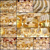 Beautiful golden jewelry collage — Stock Photo