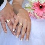 mani dello sposo e la sposa — Foto Stock #35053119