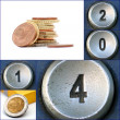 Happy new year with telephone keypad numbers and euro coins — Stock Photo