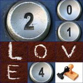 Happy new year unique with telephone keypad numbers — Foto Stock