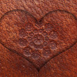 Stock Photo: Heart Love Symbol On Leather Background