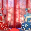 Birthday cake for twin brother and sister — Stock Photo