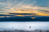 Fog over Prespa valley in Macedonia — Stock Photo