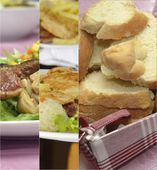 Collage of bread with meal — Stock Photo