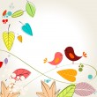 Vector de stock : Colorful autumn leaves and birds illustration