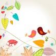 jesień kolorowy liść i ptaków ilustracja — Wektor stockowy
