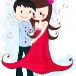 Cute couple in love — Stock Vector