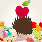 Cute autumn illustration with hedgehog and apple — Stock Vector