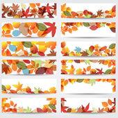 多彩的秋天的叶子横幅 — 图库矢量图片