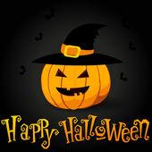 Cute Halloween illustration with pumpkin — Stock Vector