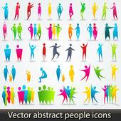 Conjunto de siluetas abstractas coloridas — Vector de stock