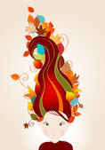 Cute autumn girl and leaves illustration — Stock Vector
