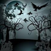 Ilustración de halloween con jack o — Vector de stock