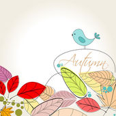 Colorful autumn leaves and bird illustration — ストックベクタ