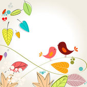 Colorful autumn leaves and birds illustration — Stock Vector