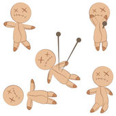 Cute voodoo dolls — Stock Vector