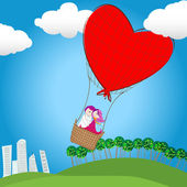 Cute couple in love flying away on a hot air balloon — Stock Vector