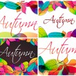 Set of colorful autumn leaves illustration — Stock Vector